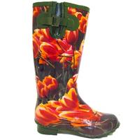 View Item LADIES GREEN TULIP WELLIES WELLINGTON BOOTS SIZE 4-7